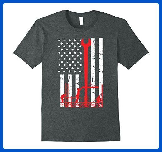 Mens IronWorker T-shirt, Ironworker America Flag Shirt Large