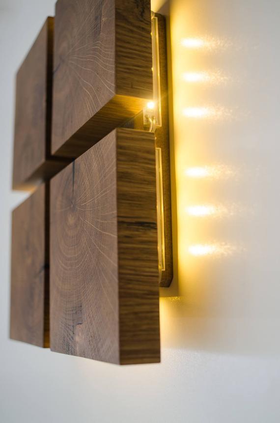 wall lamp wooden DECOR68 handmade  oak  wood art  wood lamp  wooden sconce  wood wall lamp  wooden decor  plug in wall lamp  wood art is part of Wood wall lamps - dtchss