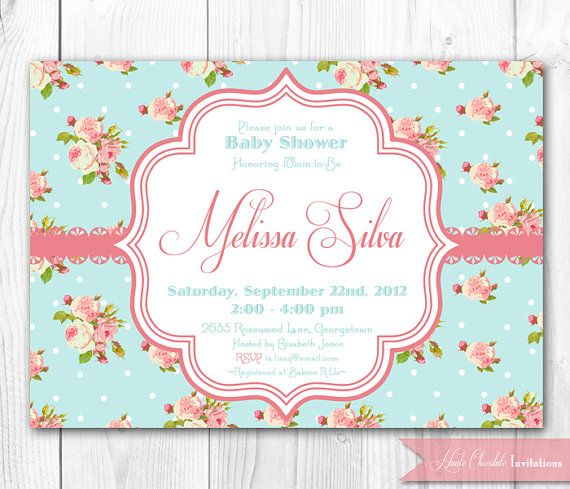 Shabby Chic Baby Shower Invitation DIY Printable Baby Shower - printable baby shower invite