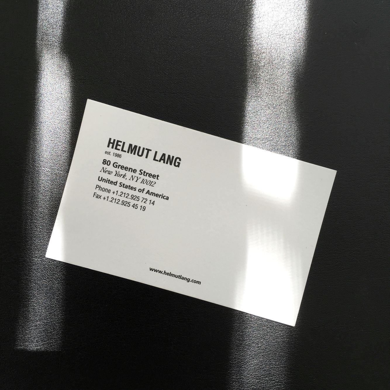 Helmut Lang business card, Circa 1999. New York   LANG   Pinterest ...