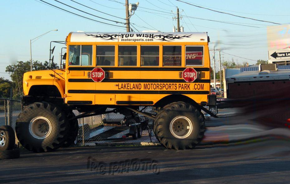A school bus wearing Monster Truck tires = ODDITY | Trucks