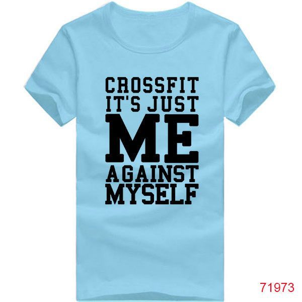 New Fashion Cotton CrossFit Me Against Myself Eco T Shirts Men Workout Fitness Gear Wear For Man t shirt Tee Tops