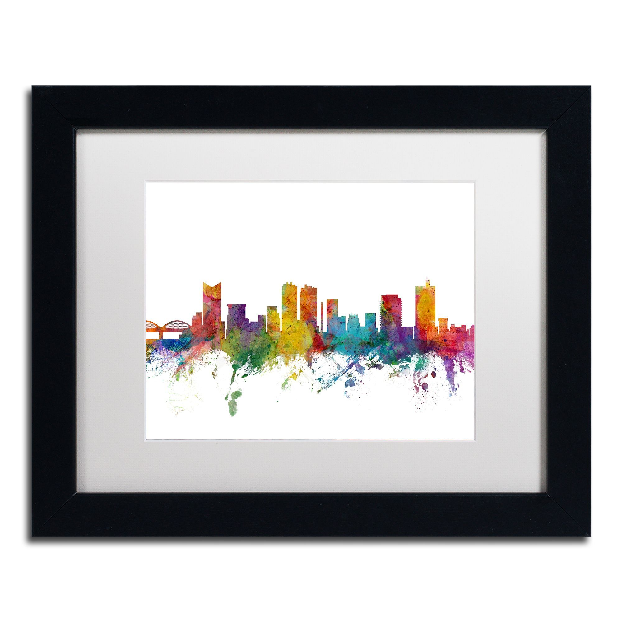 Michael Tompsett 'Fort Worth Texas Skyline' White Matte, Framed Canvas Wall Art