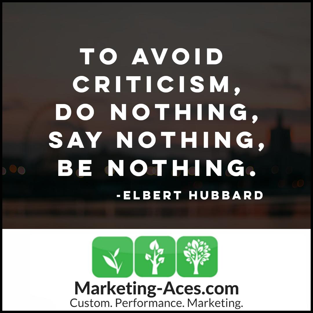 criticism is vital in obtaining success