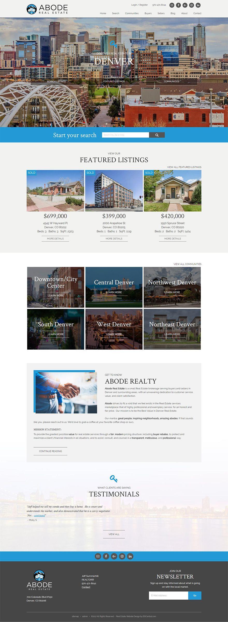 Denver Colorado Abode Real Estate Is A Small Denver Colorado Real Estate Brokerage With O Real Estate Website Design Colorado Real Estate Real Estate Website