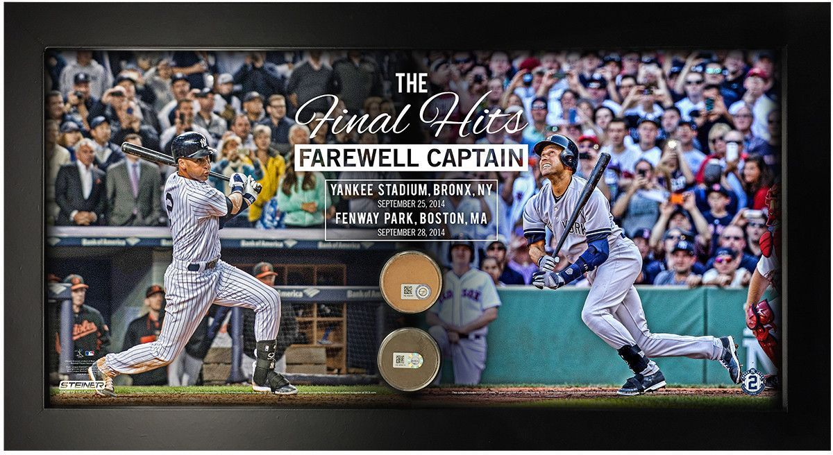 Derek Jeter The Final Hits Farewell Captain with Dirt from Fenway and Yankee Stadium 10x20 Collage
