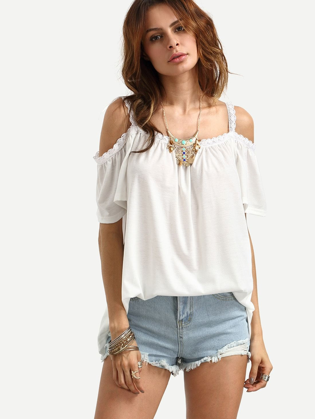 c79bdd9d1aed Young Boho Plain Top Regular Fit Straps Short Sleeve Pullovers White Open  Shoulder Lace Trim Cami
