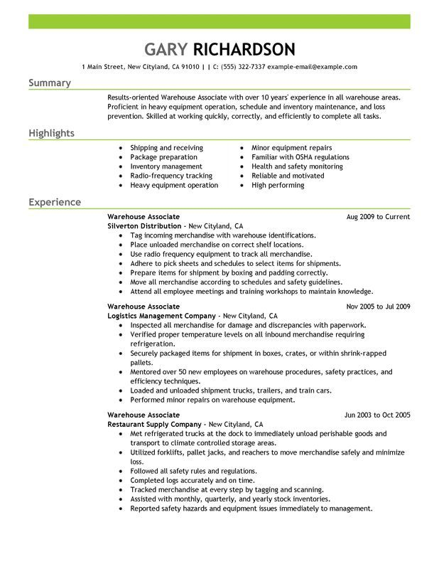 Warehouse Associate Objective Resume -    wwwresumecareer - resume templates for warehouse worker
