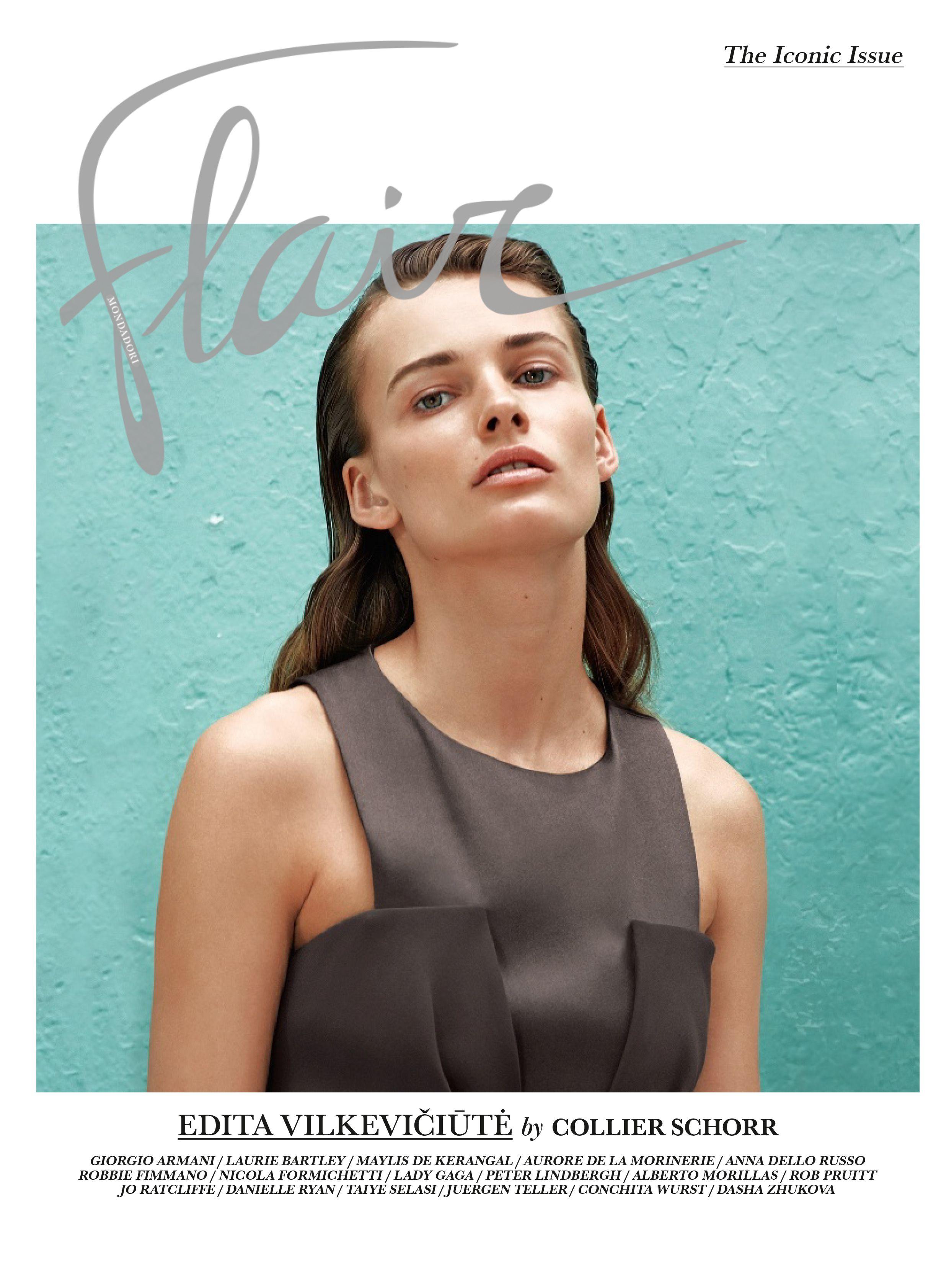 Edita Vilkevičiūtė on the cover of Flair Italia No. 17 - The Iconic Issue wearing a #GiorgioArmani dress. Make up: on skin, Crema Nuda Fair Glow; on eyebrows, Eye & Brow Maestro Ambre by #ArmaniBeauty