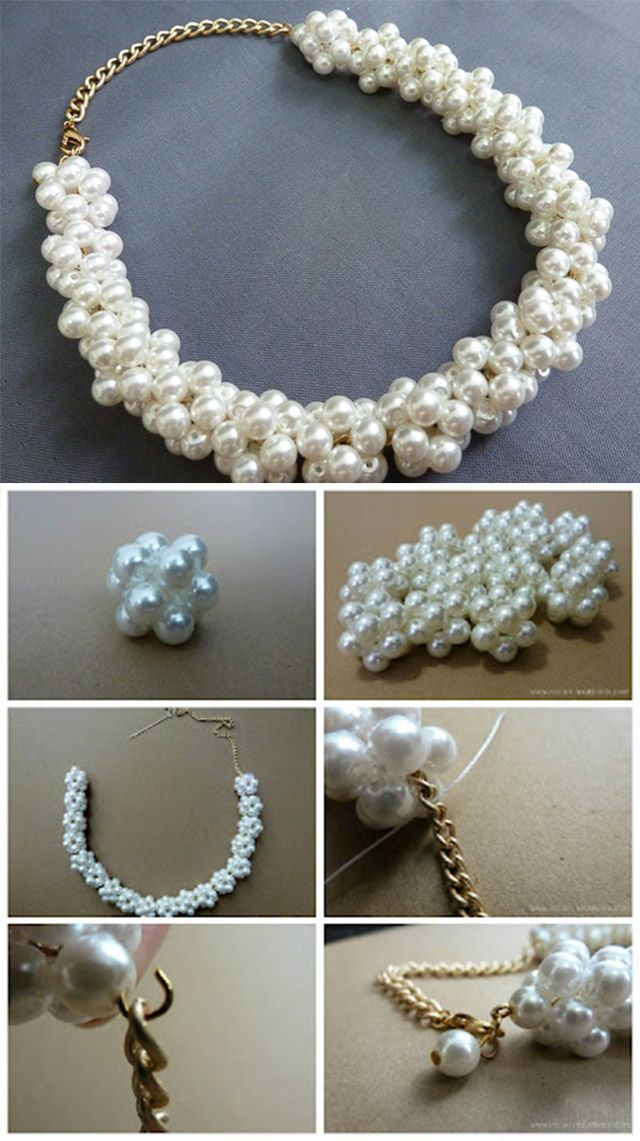 Diy White Pearl Necklace Diy Pearl Necklace Pearls Diy Beaded Jewelry