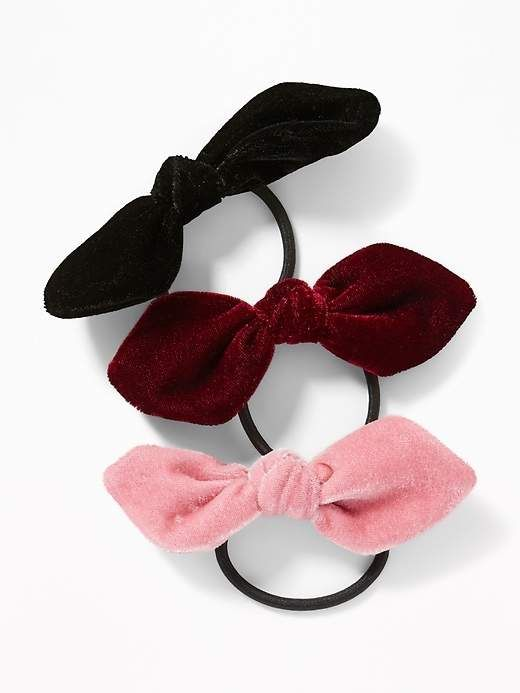 9dc987bb566d Old Navy Velvet-Bow Elastic Hair Tie 3-Pack for Women | Products ...