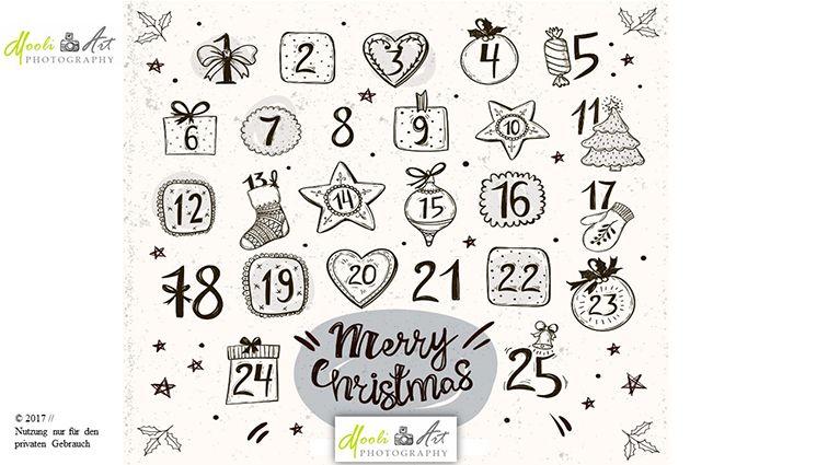 Weihnachtsmotive Schwarz Weiß Ausdrucken.24 Adventskalender Zahlen Mit Schwarz Weiss Gezeichneten