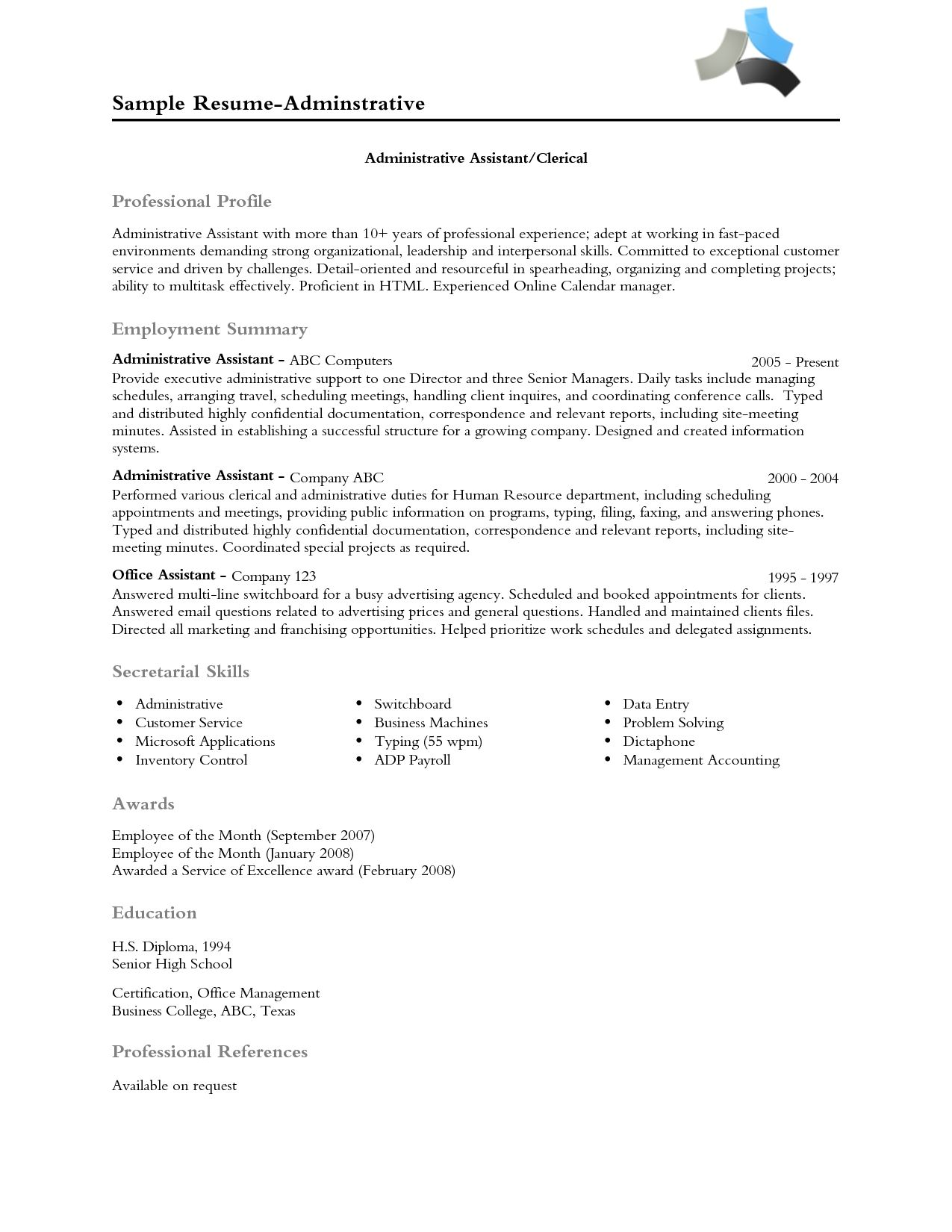 Example Of A Professional Resume Resume Professional Profile Examples Professional Profile Examples