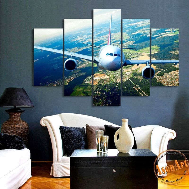 5 Panels Airplane Canvas Painting Print Picture For Living Room Home Decoration Wall Art Picture 2016 Airplane Wall Art Wall Art Pictures Living Room Pictures