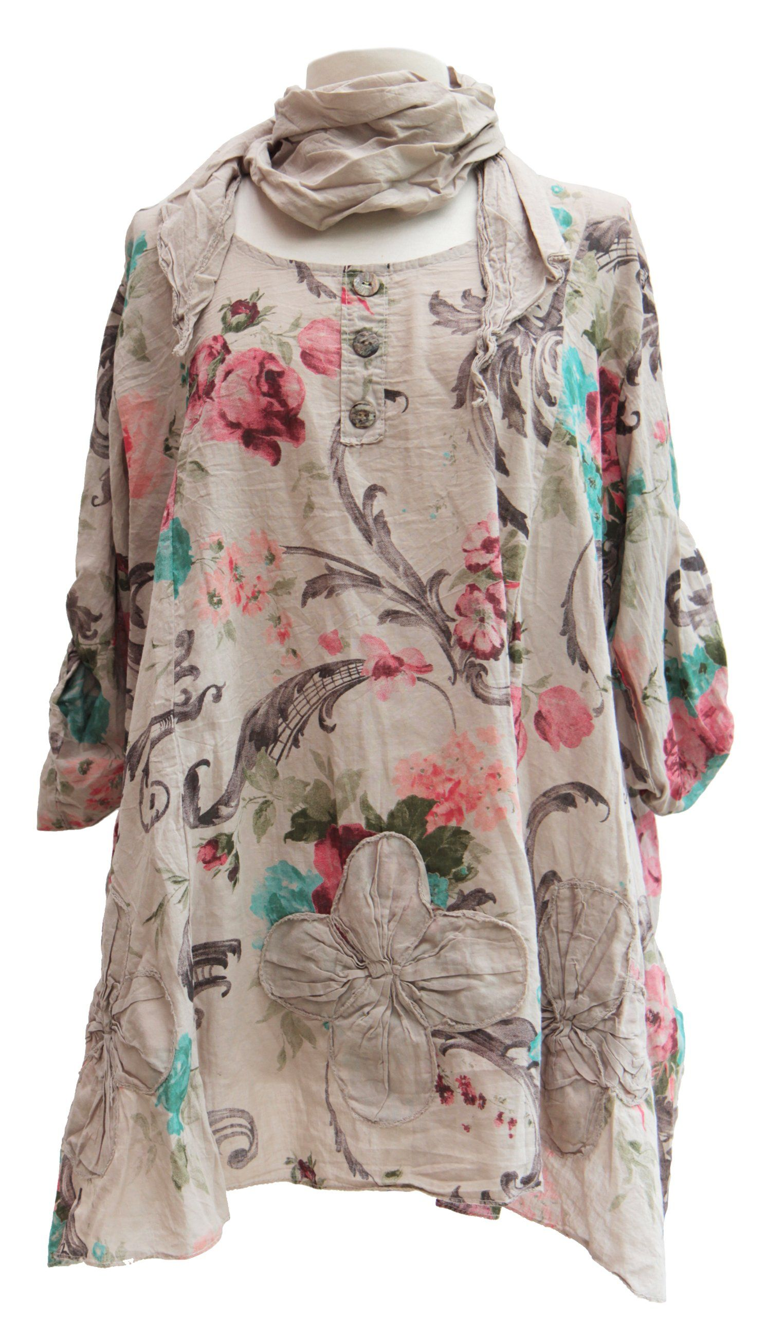 e361aa9c8d5 Ladies Womens Italian Lagenlook Quirky Floral Print Tunic Top Scarf Set  Shirt Cotton One Size Plus Blouse (One Size (Plus), Beige)