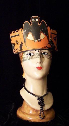 Vintage Black Owl Crescent Moon Witch Litho Crepe Paper Orange - vintage halloween decorations ebay