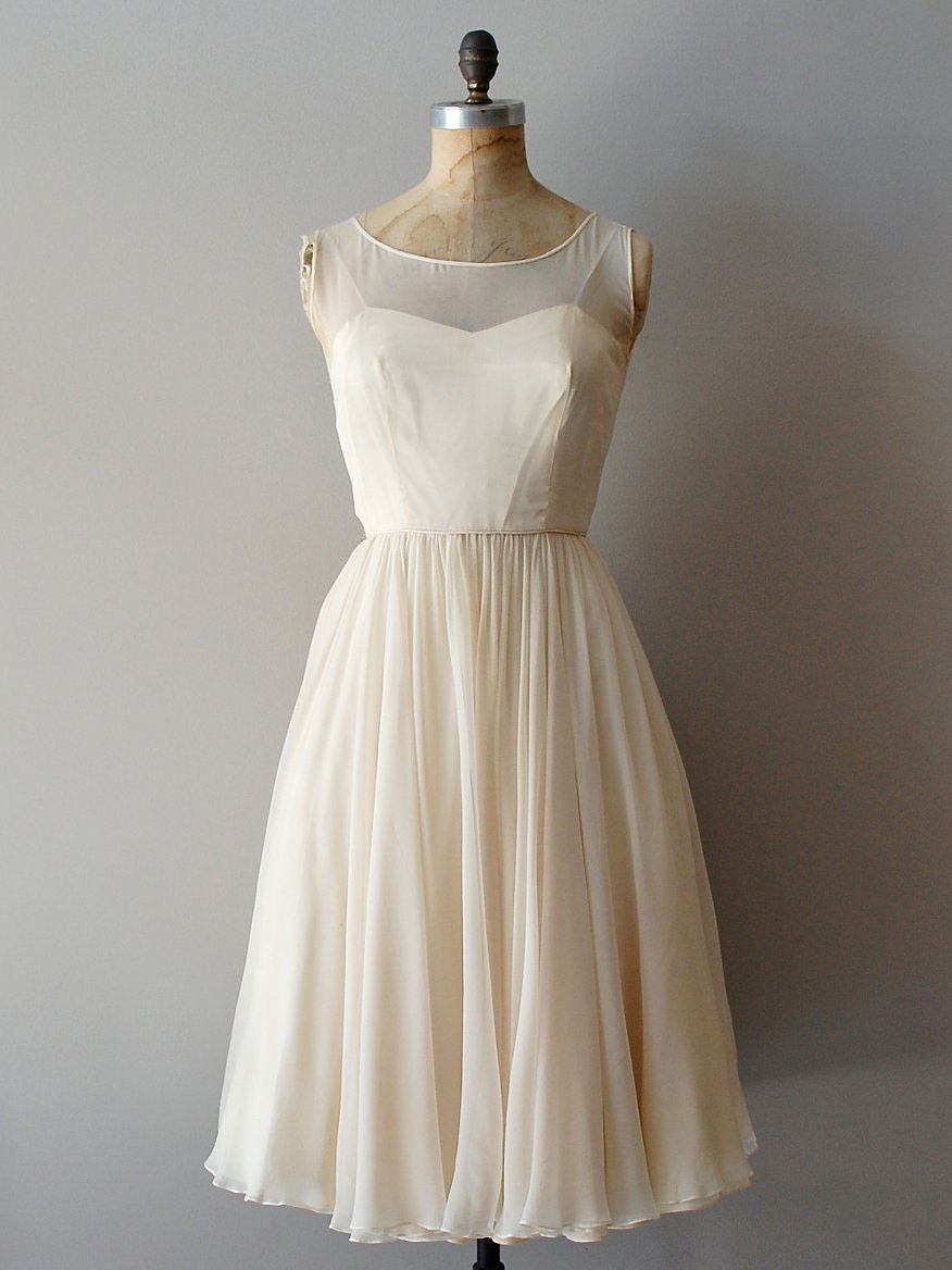 Cocktail dresses for wedding reception  Retro Short Chiffon Wedding Reception Dress  DV  Pinterest