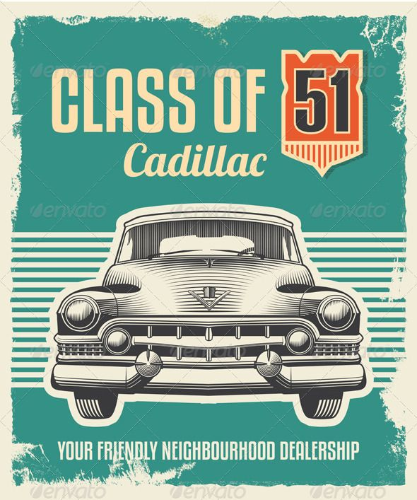 Vintage Retro Sign - Cadillac Classic Car Poster by rtguest Vintage