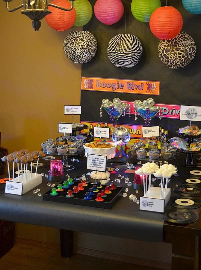 70s Disco party - Candy bar with candy from the era ...