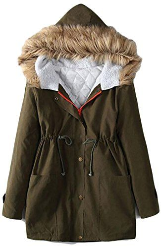 245fbed14255 Yayu Womens Winter Military Thick Faux Fur Hood Parkas Coats ...