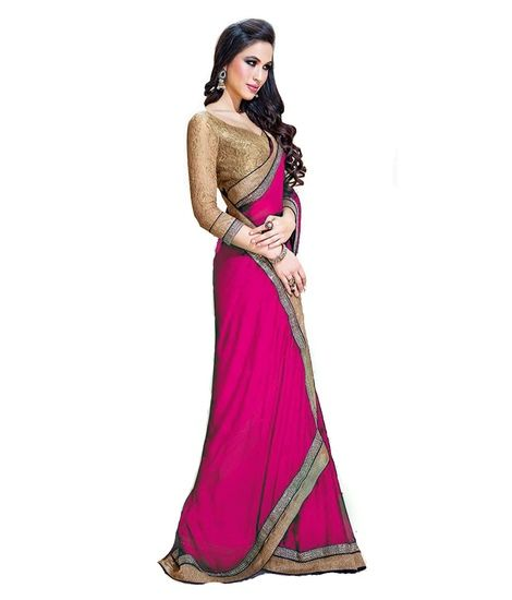 ed464c145b47fe Vishal Saree Pink Embroidered Faux Chiffon Saree With Blouse Piece Online