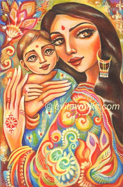 Indian Oil Paintings Of Mother And Child