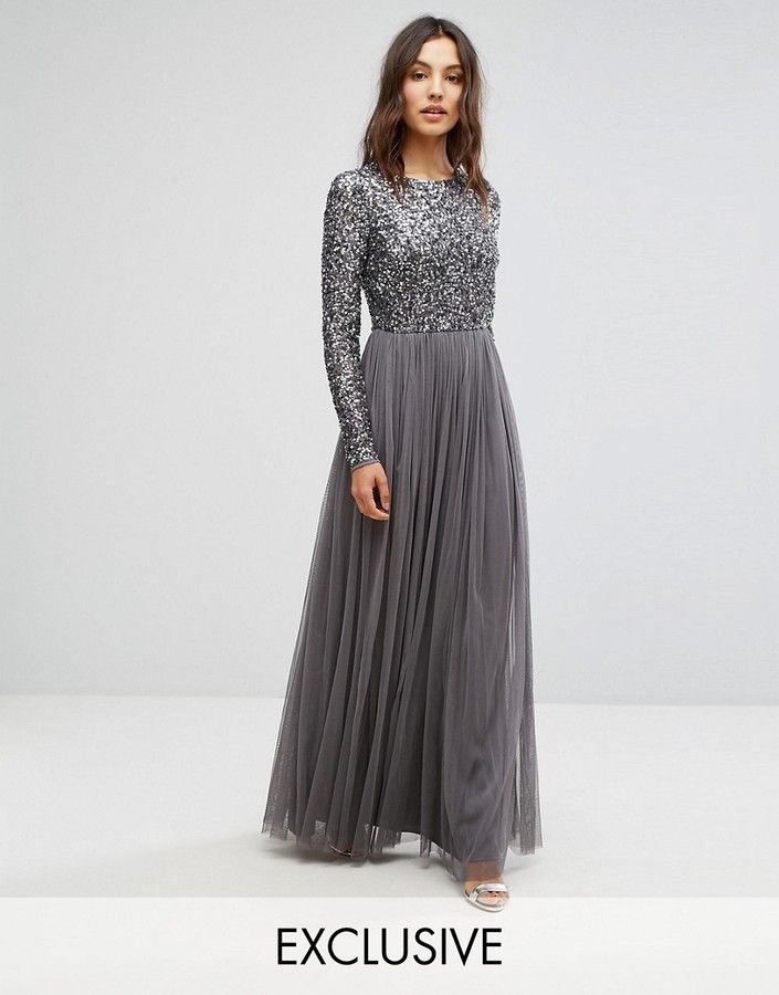 c2f84d1455c9 Maya Long Sleeved Maxi Dress With Delicate Sequin And Tulle Skirt ...