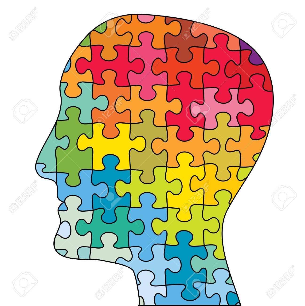 Brain psychology. Clipart symbol this head