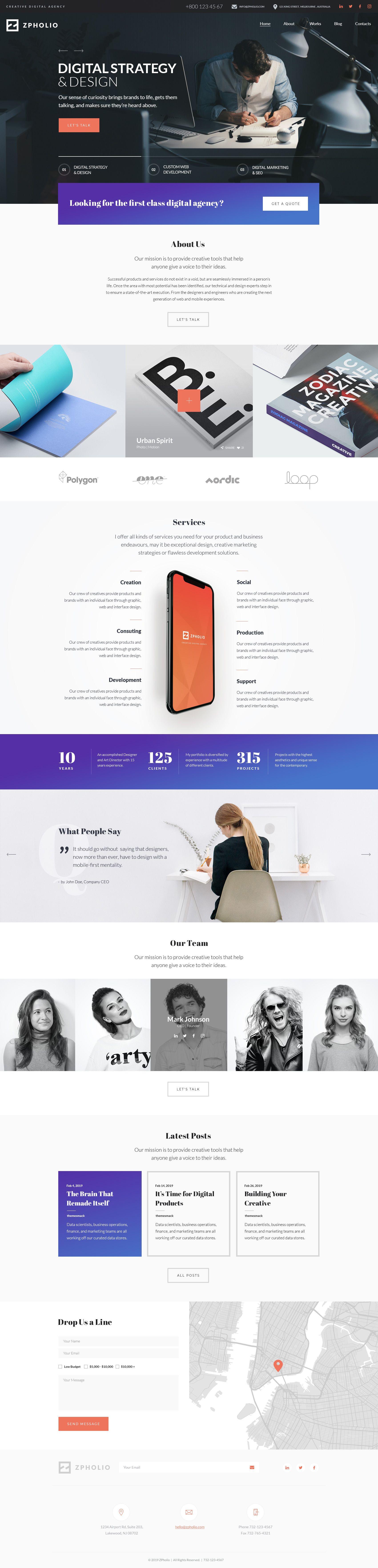 Zpholio Portfolio Wordpress Theme Dizajn Veb Sajtov Veb Dizajn Dizajn