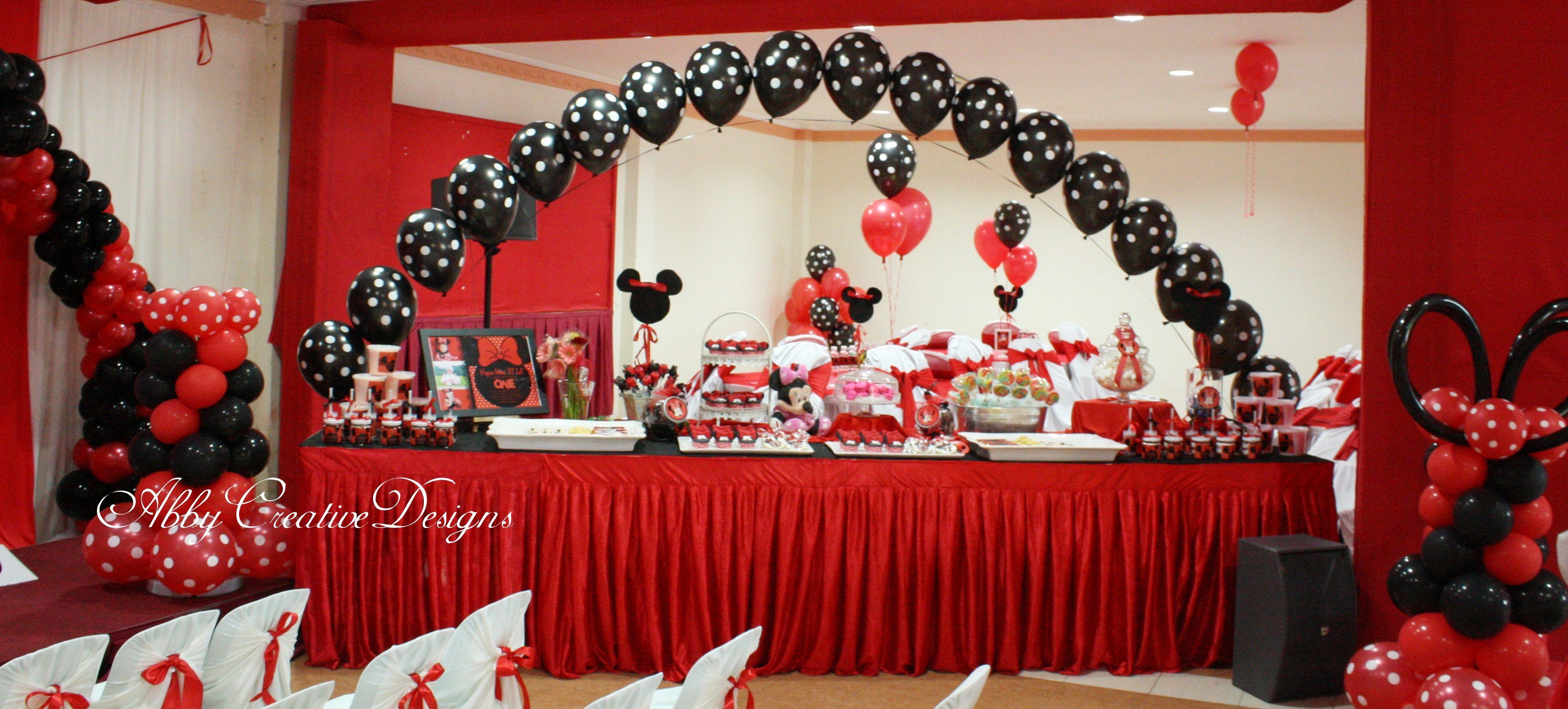 creative buffet table ideas Minnie Mouse 1st Birthday Party