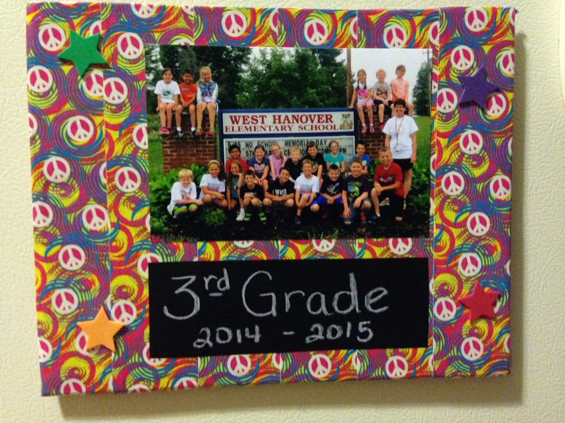 Duct tape photo frame.  Cardboard covered in duct tape, add a photo, stickers, magnets on back and for this one I added a piece of chalkboard contact paper to write in a personalized memory!  Using for end of year craft.