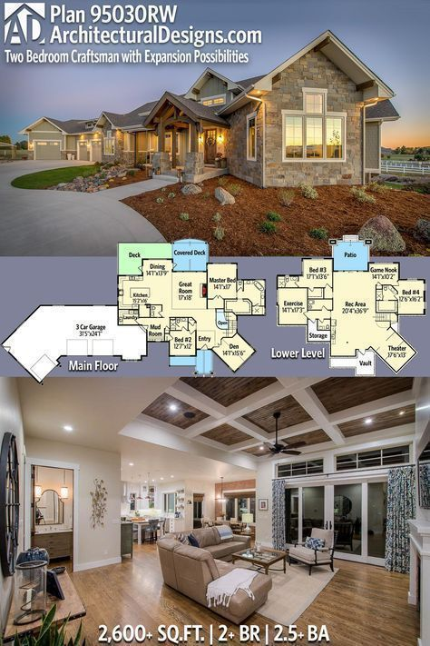 Architectural designs home plan rw has beds and baths over sq ft of heated living space plus optional lower level also two bedroom craftsman house with expansion rh pinterest
