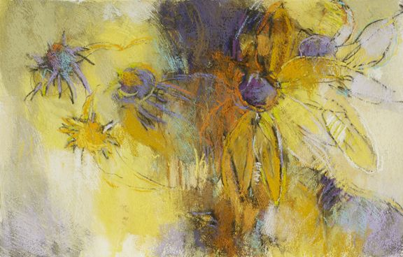 Yellow Coneflower, 15x22 pastel on paper by Debora L. Stewart www.deboralstewart.com