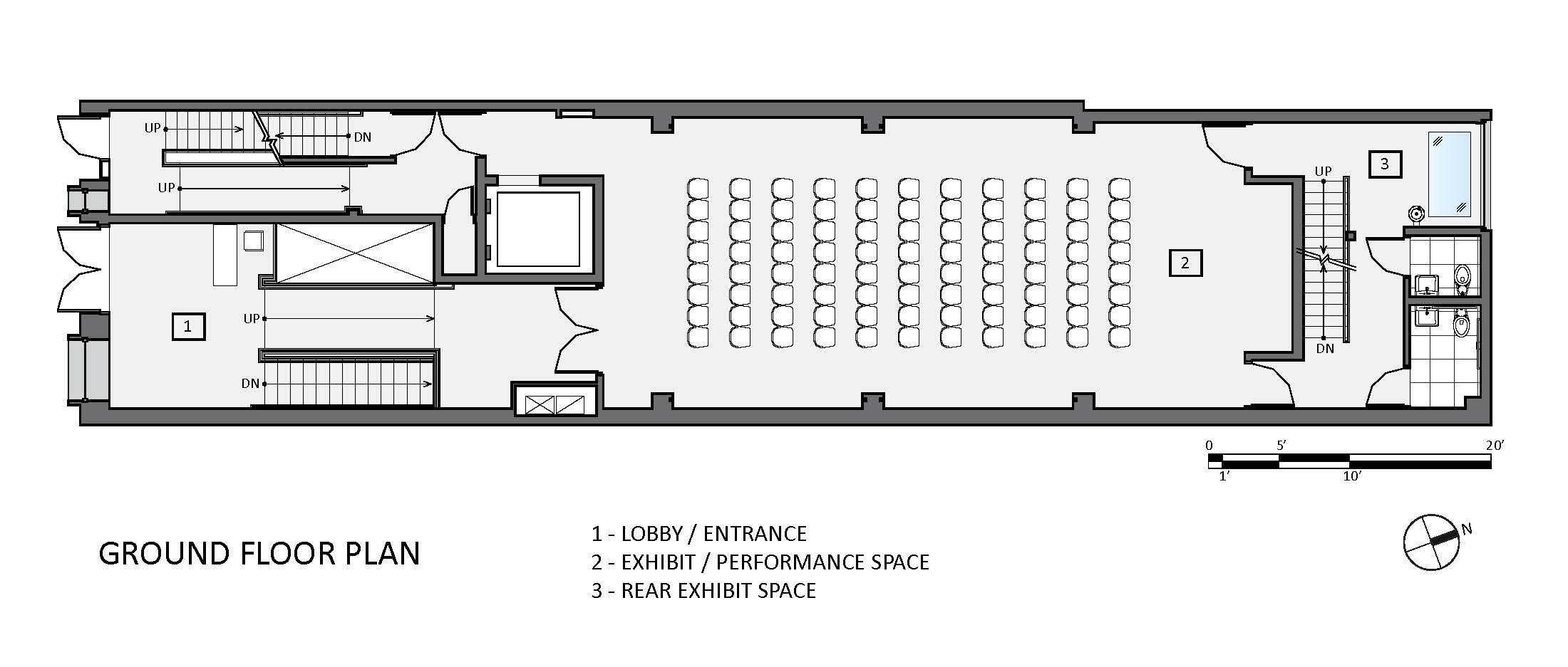 Ground Floor Plan With Details Of The Front And Rear Exhibit