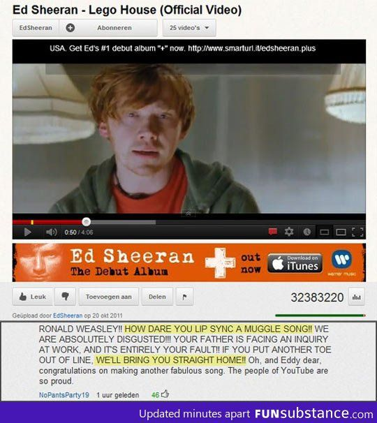Shame On You Ron Funsubstance Ronald Weasley Harry Potter Fandom Ed Sheeran