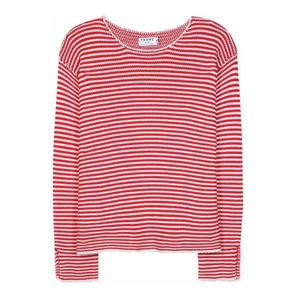 Frame Le Cropped Striped Cotton Sweater (€380) ❤ liked on Polyvore featuring tops, sweaters, frame denim, red striped top, striped sweater, cotton sweater and striped top