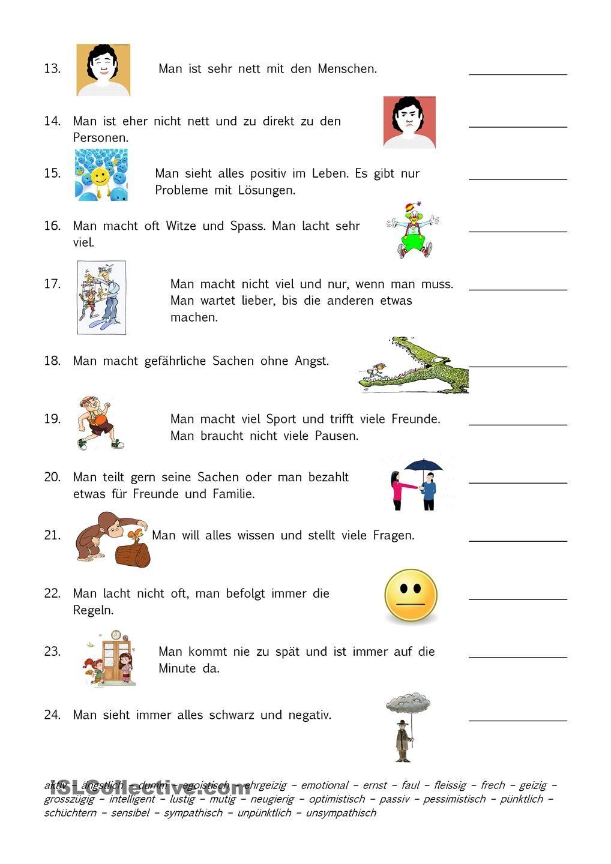 Arbeitsblatt Adjektive Grundschule : Charaktereigenschaften adjektive charaktereigenschaft