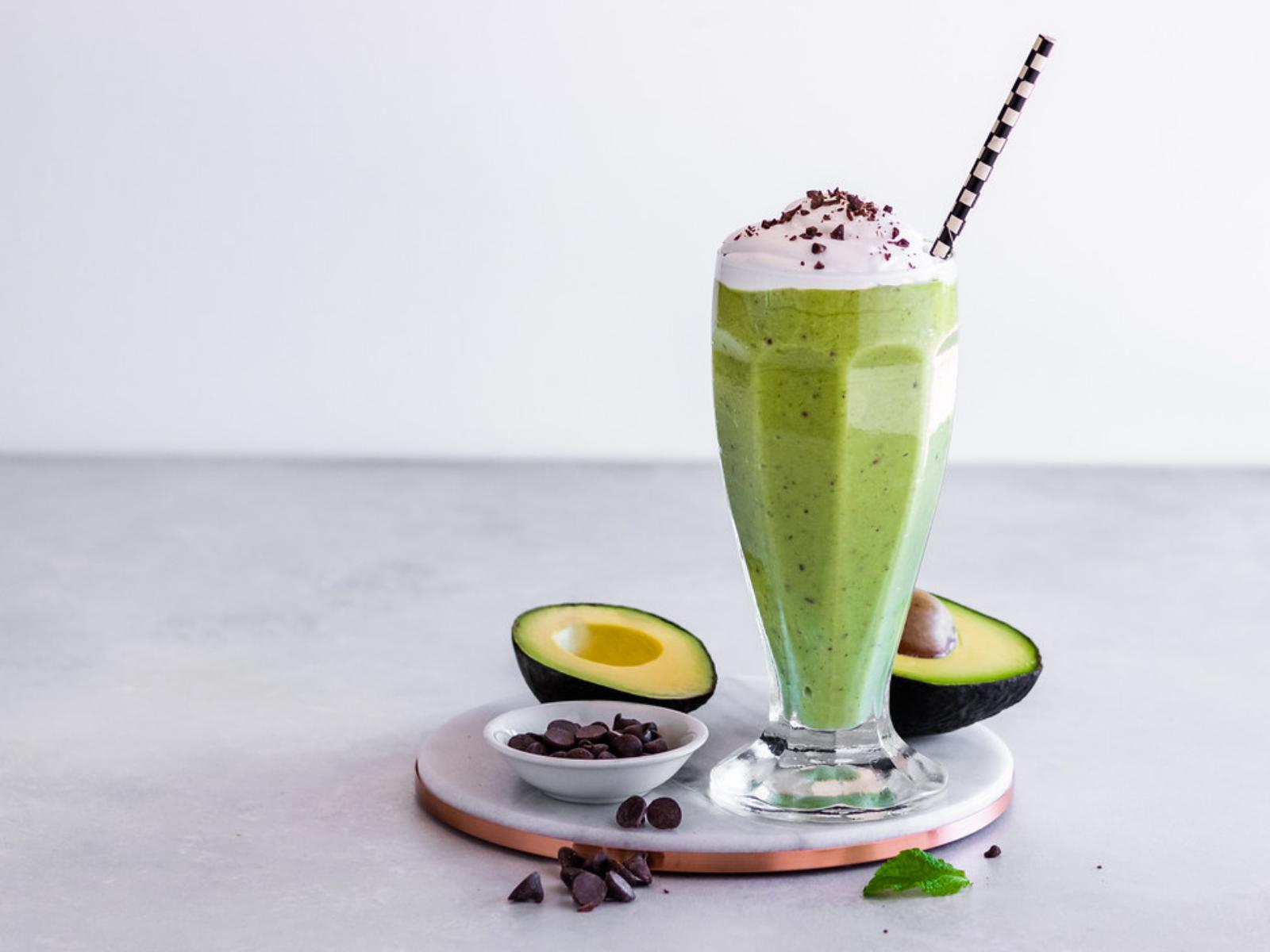 Mint Chip Avocado Milkshake Vegan In 2020 Avocado Milkshake Vegan Mints Mango Smoothie Healthy