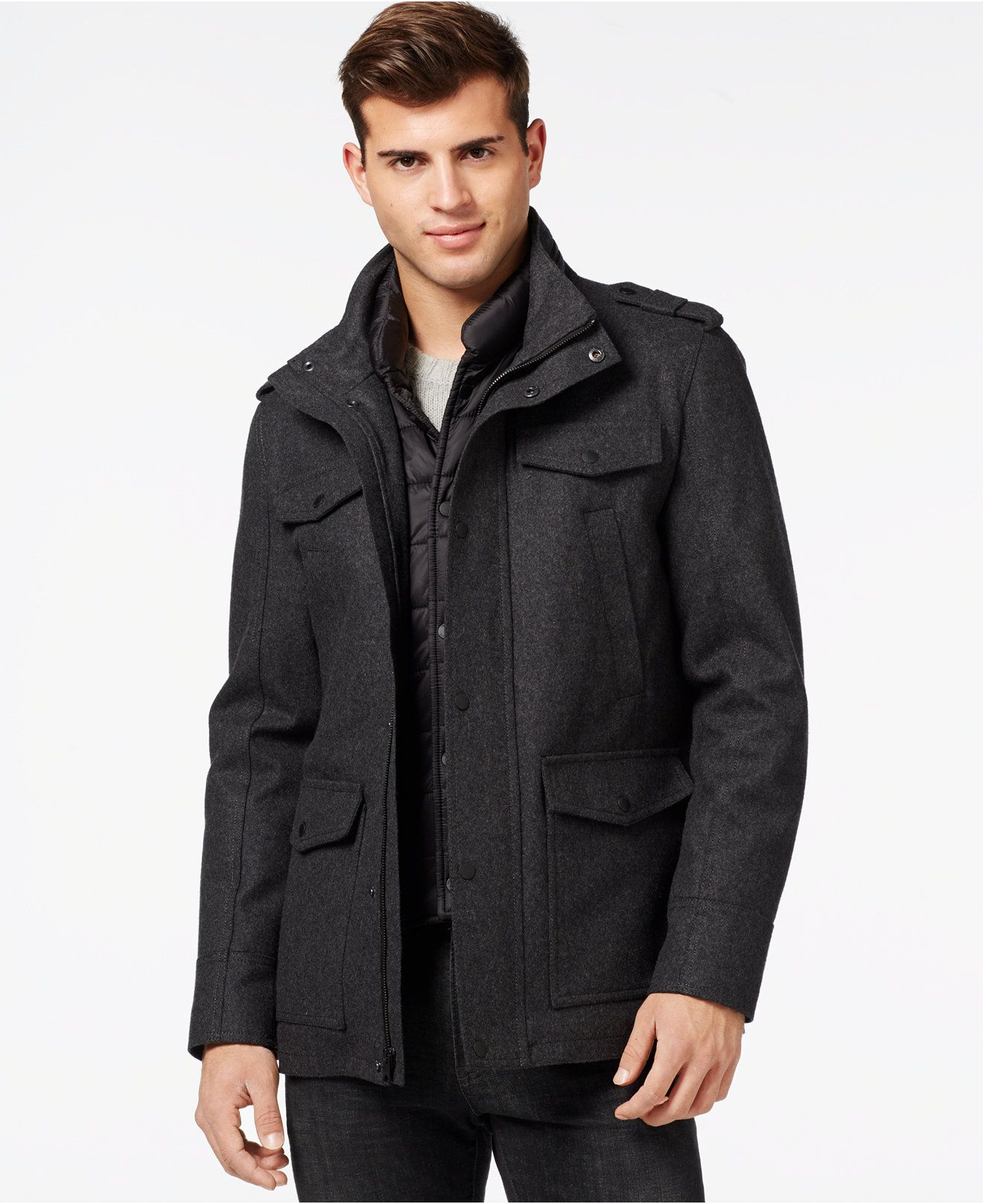 Guess Wool Blend Jacket With Removable Bib Coats Jackets Men Macy S Wool Blend Jacket Mens Wool Coat Men S Coats And Jackets [ 1616 x 1320 Pixel ]