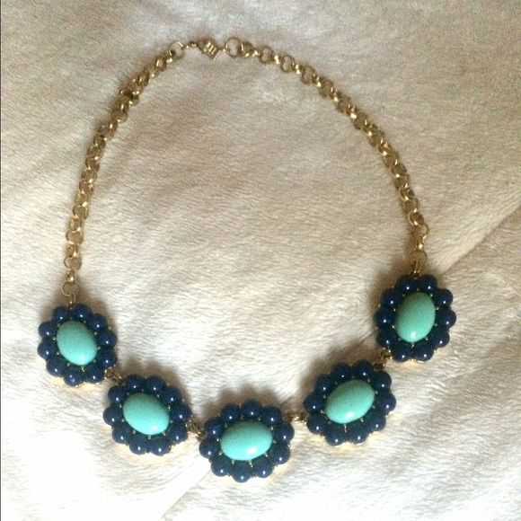 Banana Republic blue and aqua necklace Gold chain with Navy and Aqua accents. Stunning piece and like new. Banana Republic Jewelry Necklaces