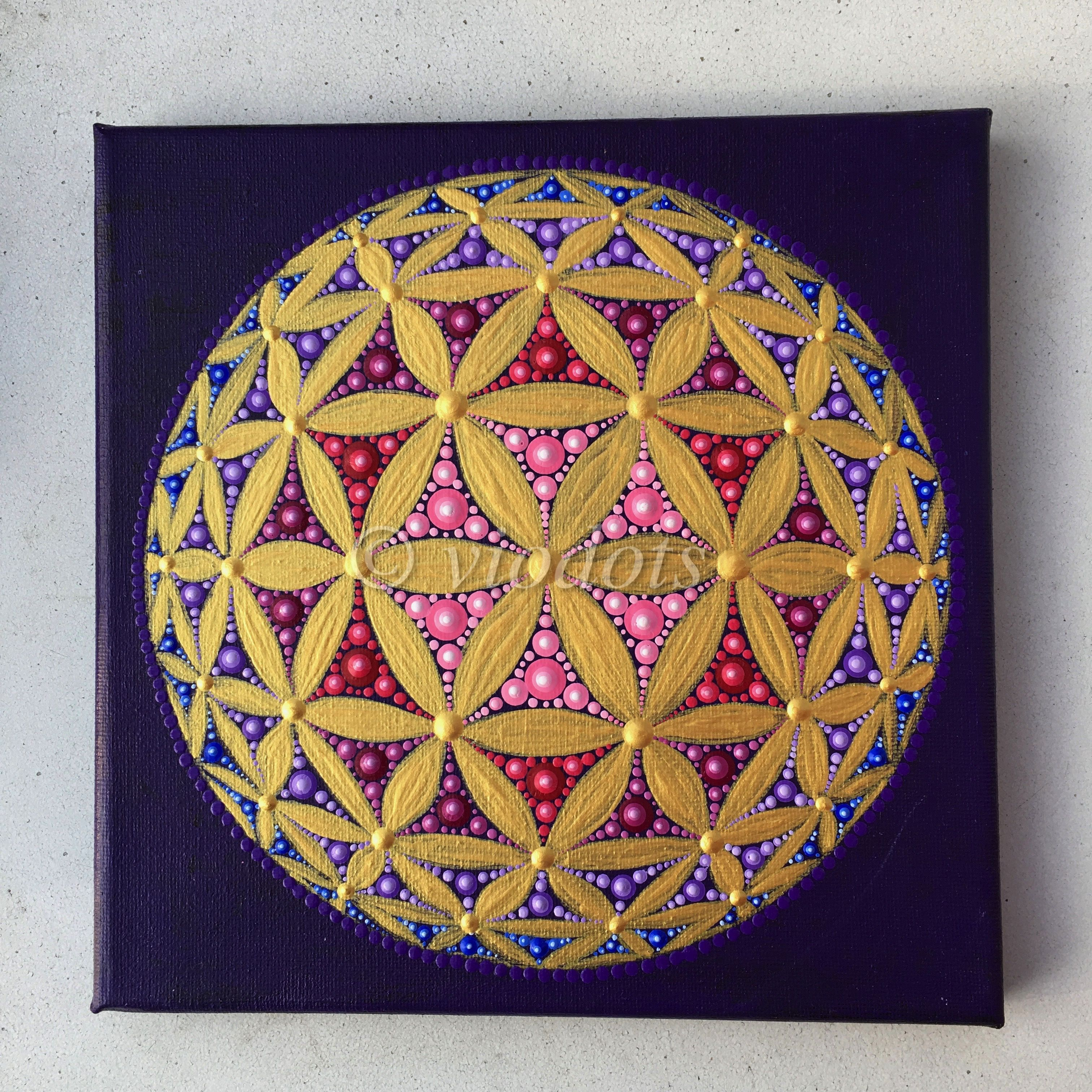 Stein Fliesen Bemalen Original Painting Dot Painting Flower Of Life 3d Malen