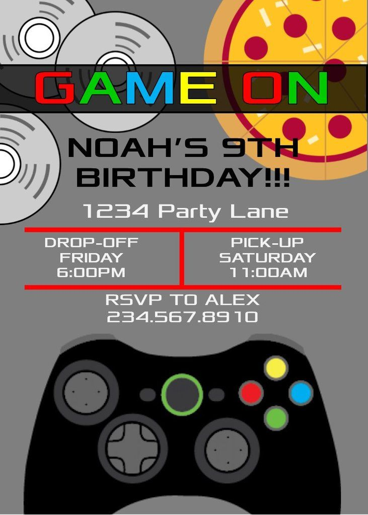 Printable Video Game Ticket Birthday Invitation Boys Party Xbox Wii Gamer Party Ticket Invitation Birthday Boy Birthday Invitations Free Thank You Cards