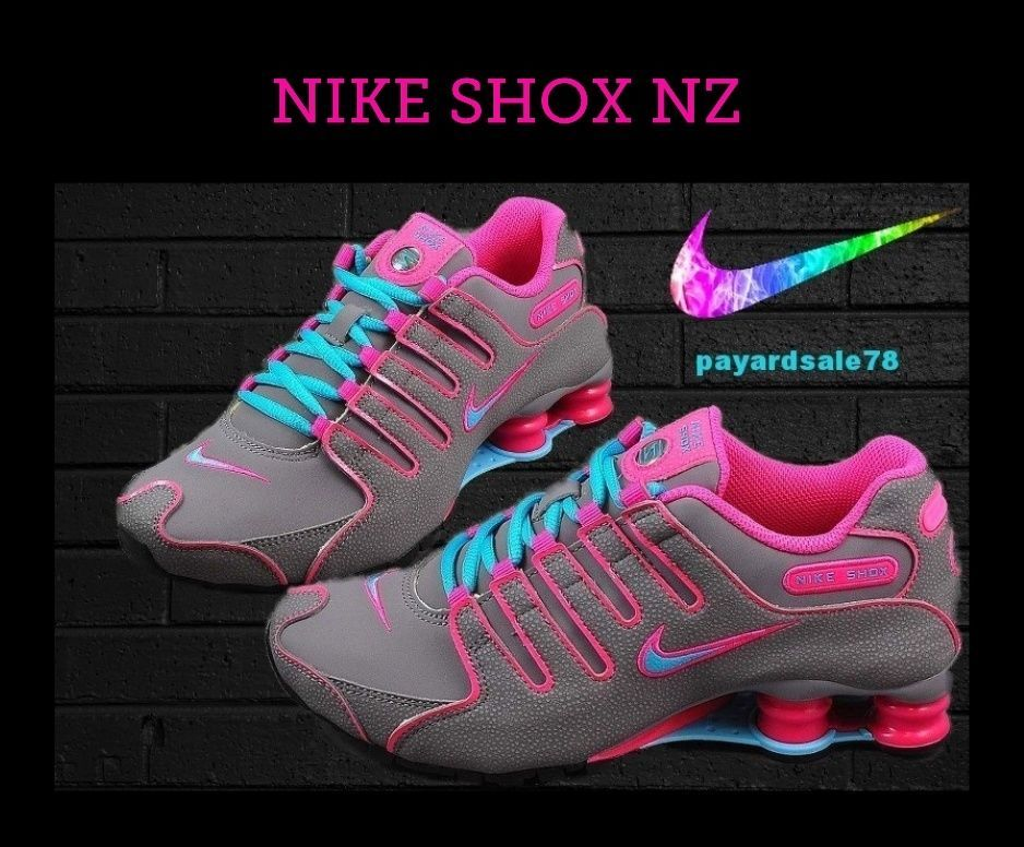07037fc94de6 NIKE SHOX NZ SNEAKERS SHOES WOMEN S SIZE 7 GRAY GAMMA BLUE PINK NEW  Nike   RunningCrossTraining