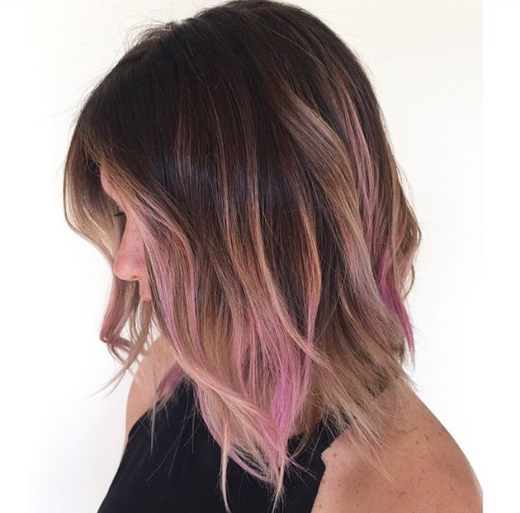 Image Result For Black Hair With Light Pink Highlights Hair