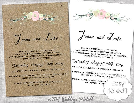 "Wedding Invitations Free Templates Download: Printable Rustic Wedding Invitation Template ""Rustic"