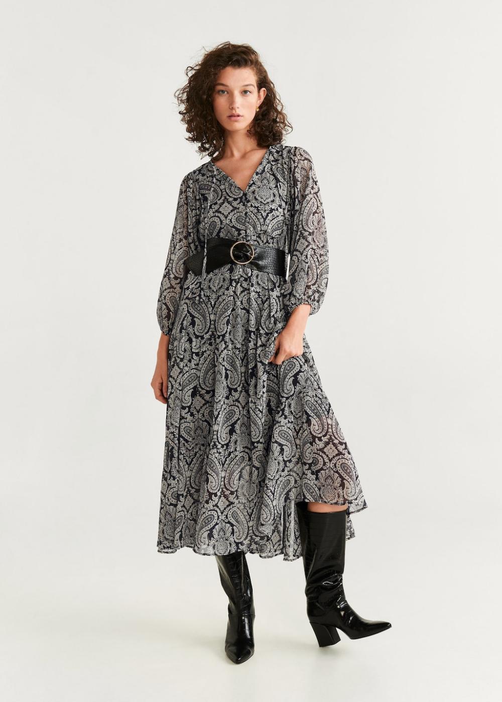 Mango Paisley Print Dress Fashion Dresses Casual Womens Dresses [ 1398 x 1000 Pixel ]