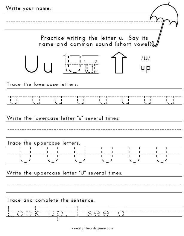 Letter-U-Worksheet-1 | Letters of the Alphabet | Pinterest ...
