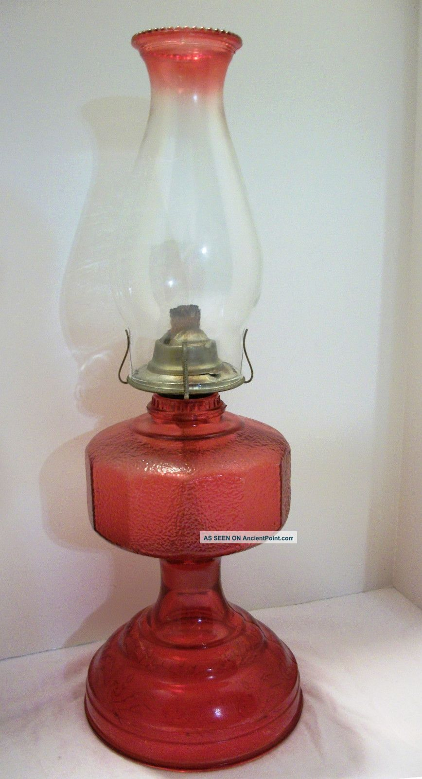 Antique red hurricane oil lamp two tone beaded globechimney antique red hurricane oil lamp two tone beaded globechimney eagle burner parts photos and information in ancientpoint mozeypictures Image collections