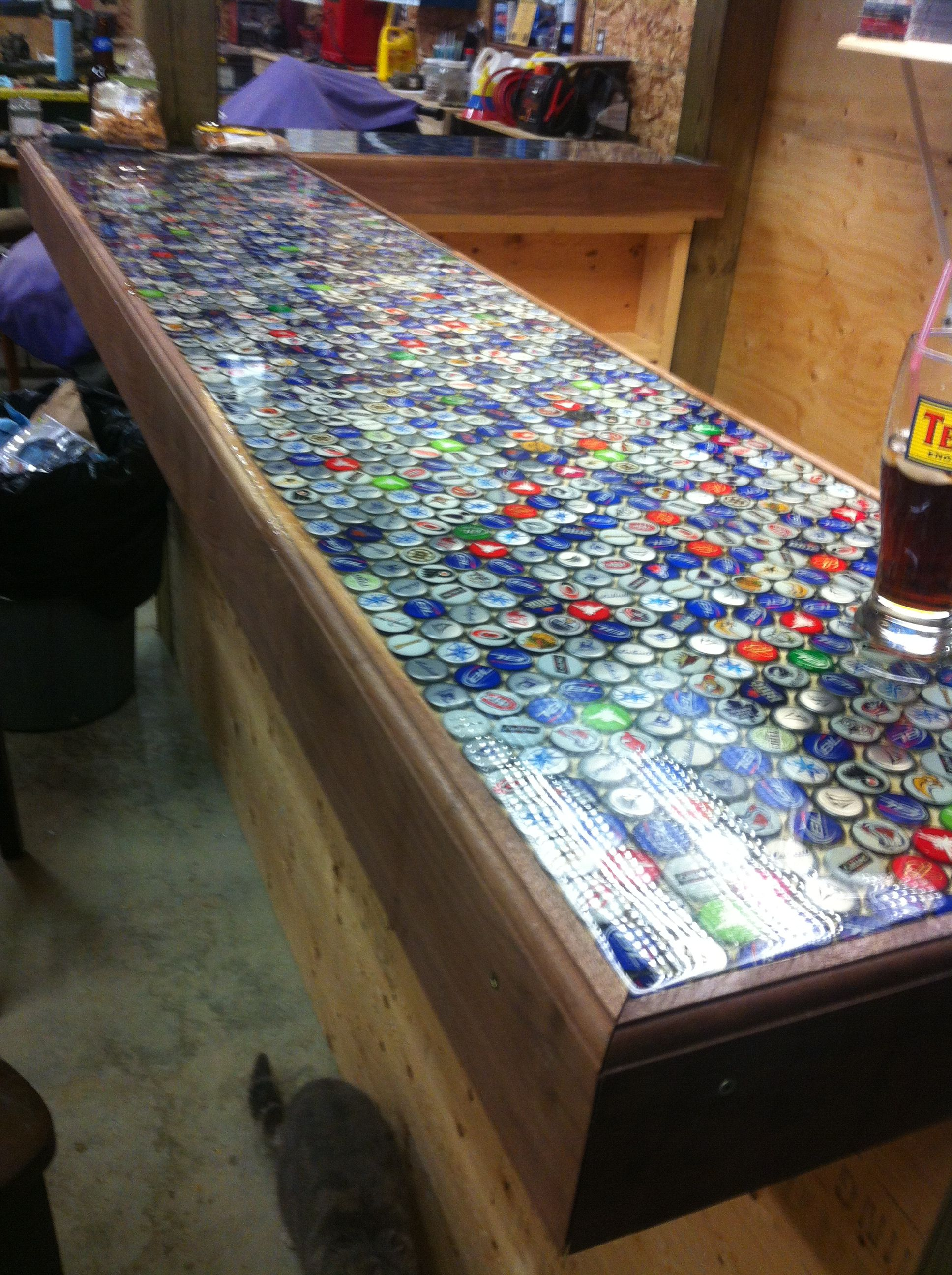 Beer Cap Bar Top! This Would Be Cool If We Had A Bar :)