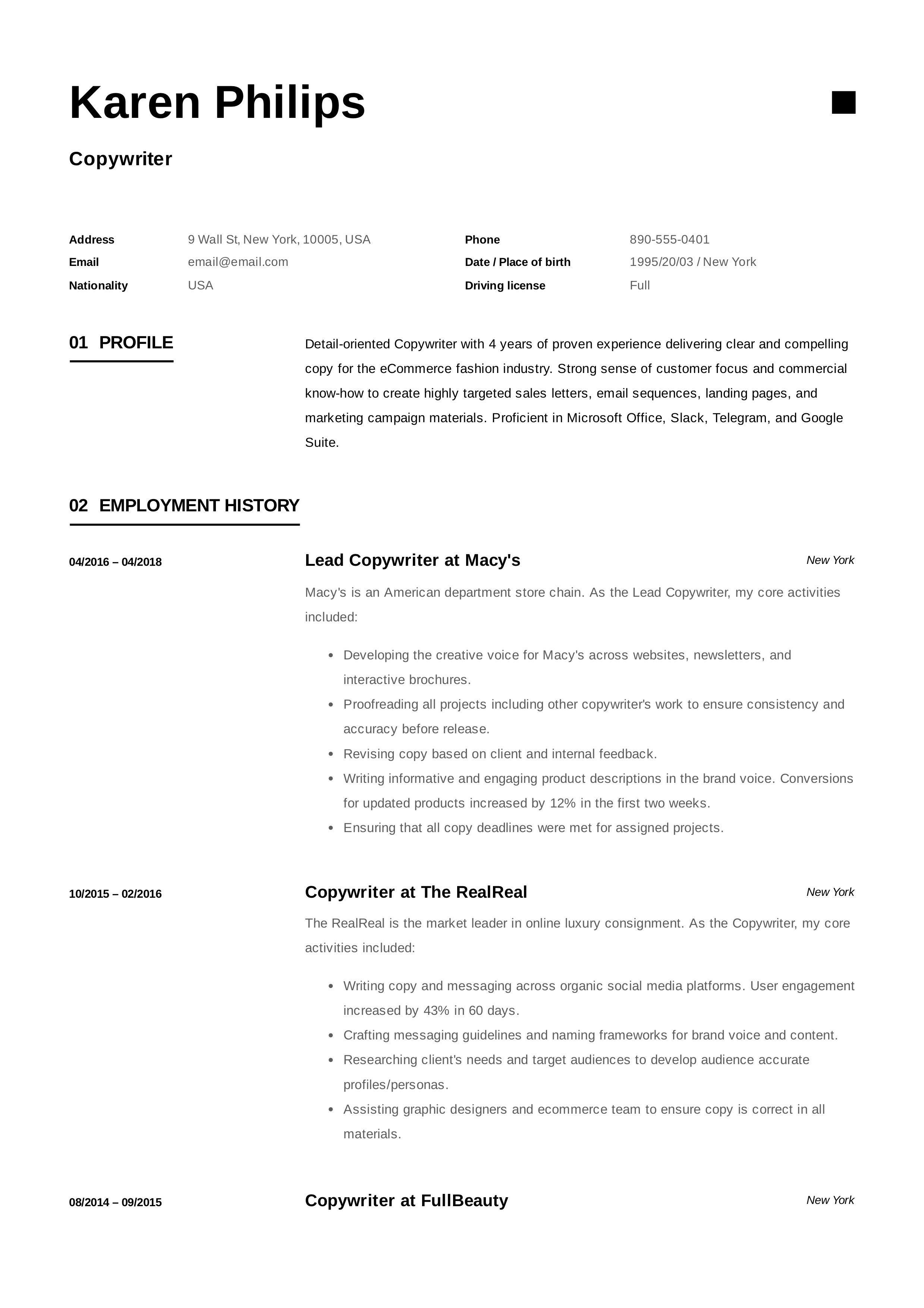 Copywriter Resume Example Resume Objective Copywriting Resume